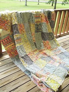 King Rag Quilt, Silent Cinema, blue grey yellow, ALL NATURAL, fresh modern handmade. $409.00, via Etsy.