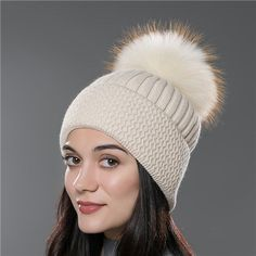 59030f4ad4a5a URSFUR Unisex Autumn Knit Wool Beanie Cap with Fur Ball Pompom Women Winter  Hat
