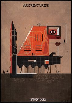 Arcreatures: architectural drawings by Federico Babina - The Tree Mag Space Series, Like Animals, Tower, Creatures, Architectural Drawings, Graphic Design, Sculpture, Architecture, Classic