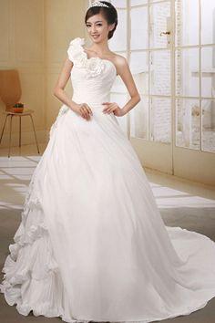 Beautiful Ball Gown One-Shoulder Chapel Train Taffeta Wedding Dress Chiffon Wedding Gowns, White Wedding Gowns, Wedding Dresses 2014, Elegant Wedding Dress, Cheap Wedding Dress, Bridal Dresses, Bridesmaid Dresses, Prom Dresses, Gown Wedding