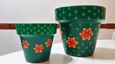 Verde pino. Macetas pintadas a mano. A'cha Pots. Facebook: A'cha Pots. achapots@hotmail.com