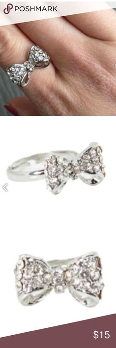 Simply stated silver bow ring New bow ring from T&J. Sparkly & oh so darling!  T&J Designs Jewelry Rings