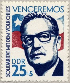 """""""Solidarity with the people of Chile"""" – 🇩🇪 Stamp from East Germany showing Salvador Allende, Chilean president from 1970 until 1973 when he was overthrown during a coup. The top reads """"we will win"""" Postage Stamp Design, Postage Stamps, Base And Superstructure, German Stamps, Rare Stamps, Stamp Printing, East Germany, Mail Art, Stamp Collecting"""