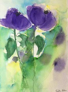 ORIGINAL AQUARELL Aquarellmalerei Bild Kunst Wiesenblumen lila
