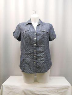 Karen Scott Top Plus Size 0X Blue Chambray Polka Dot Short Sleeve Collared Neck  #KarenScott #ButtonDownShirt #Career