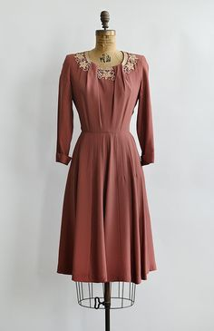 vintage 1950s Gloria Swanson dark rose pink dress