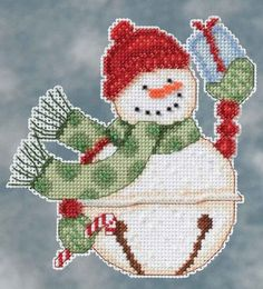 "FREEZY Snowbell (DM20-4103) Kits Include: Mill Hill Glass Beads, Mill Hill Perforated or Painted Perforated Paper, floss, needles and instructions. Approximate Design Size: 4"" x 5.25"""