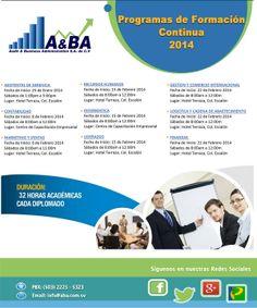 Se Acerca Febrero, Puedes Empezar a coger el seminario que gustes. Informate:  Email: info@aba.com.sv PBX (503) 2225-5323