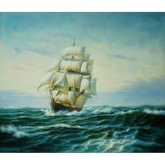 Pirate Ship on Surgy Ocean Sailboats Reproduction Oil Painting for sale on overArts.com
