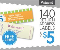 Get 140 Customized Return Address Labels for just $5 shipped!  (these also make lovely Christmas gifts for those hard to buy for people)