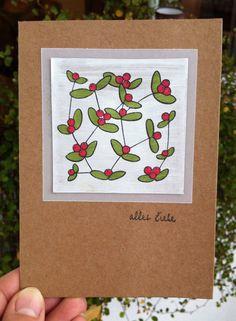 Herbstkarte, Beerenstempel Kaleidoskop, Schriftsstempel Alexandra Renke