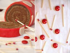 A chocolate almond flour sponge cake rolled with a swirl of dark chocolate and port ganache to form a pinwheel jellyroll which is then tightly rolled in red marzipan and covered with white marzipan polka dots, all of which is then placed on a raspberry and port syrup reduction.. yes please!