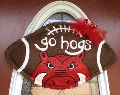 Arkansas Razorbacks Burlap Football Door Hanger. $35.00, via Etsy.