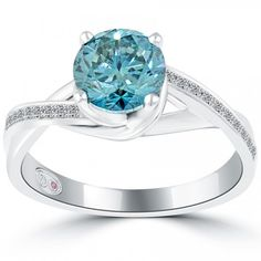 1.75 Carat Certified Fancy Blue Round Diamond Engagement Ring 18k White Gold - Blue Diamond Rings - Color Rings