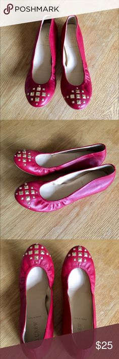 Jcrew cece flats Really cute red flats with gold stud detail so comfortable has some wear see pictures. Made in Italy J. Crew Shoes Flats & Loafers