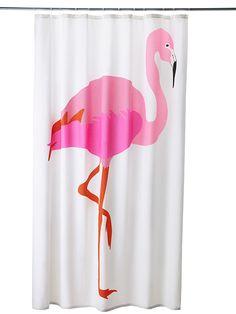 Ikea-flamingo-shower-curtain -- stretch over wood frame