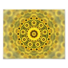 #Hippy Sunflower Fractal Mandala Pattern Photo Print #fractalart
