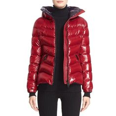 Women's Moncler 'Anthia' Water Resistant Shiny Nylon Hooded Down... ($1,180) ❤ liked on Polyvore featuring outerwear, jackets, red, hooded jacket, red puffer jacket, shiny nylon jacket, tall jackets and feather jackets