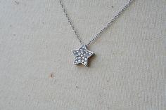Crystal Star Necklace - Silver. $23.00, via Etsy.