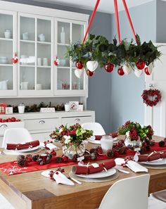 Red and white #Christmas kitchen | by Pippa Jameson Interiors