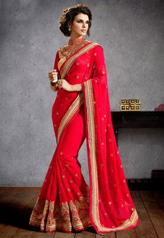 Buy Red Faux Georgette Saree with Blouse online, work: Embroidered, color: Red, usage: Wedding, category: Sarees, fabric: Georgette, price: $144.80, item code: SMDA65, gender: women, brand: Utsav