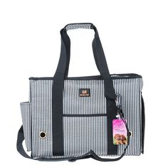 Stripe Pet Carrier Bag for Cat Dog Medium Size - Black. Carry your pet in convenience and comfort with this trendy Pet Carrier Bag. It features an interior tether, well ventilated mesh on the side and top zippered opening. Coming with side pocket to store little things. Timeless design keeps you years of stylish carry with your puppy or kitten.