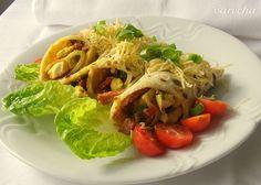 Slané palačinky plněné masem Japchae, Spaghetti, Ethnic Recipes, Red Peppers, Noodle