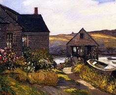 """""""Monhegan Home,"""" Edward Willis Redfield, 1927, oil on canvas, 21 x 25"""", private collection."""