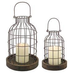 Set of 2 Weathered Metal Cloches with Wood Base, Brown