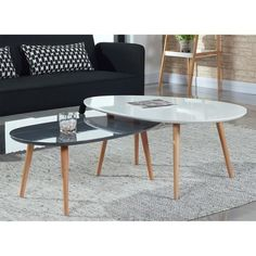 TABLE BASSE STONE Table basse scandinave 98x61 cm laquée Blanc