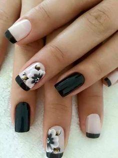 80 Winter Black and White Nail Art Designs - Nails C Best Nail Art Designs, Nail Designs Spring, Black Nails, White Nails, White Polish, White Manicure, Fun Nails, Pretty Nails, Gorgeous Nails