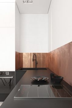 Ideas on how to use copper decor. From small copper accents, copper fixtures and fittings, to copper furniture, copper kitchens, and copper feature walls. Copper Interior, Kitchen Interior, Interior Design Services, Interior Design Inspiration, White Studio Apartment, Küchen Design, House Design, Copper Furniture, Wooden Cladding
