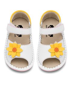 Love this SKR White & Yellow Flower Jae Leather  Sandal by See Kai Run on #zulily! #zulilyfinds