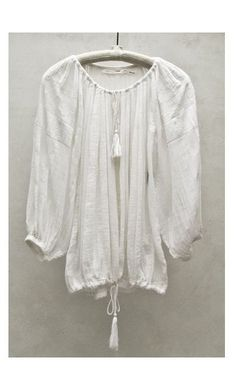 Isabel Marant 'Baker' White Peasant Embroidered Cotton-Voile Top Fr 40 M MNZ #IsabelMarant #Peasant