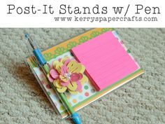 DIY Post-It Stands with Pen - Tutorial Video. Great Gifts for Teachers, Friends, Neighbors