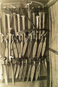 """Jolo guard house weapons """"lock-up."""" Weapons confiscated by the Moro Constabulary For Moros entering the walls of Jolo Guard House, Martial Arts Weapons, Filipino Culture, Indigenous Art, Knives And Swords, Blacksmithing, History, Blade, Philippines Culture"""