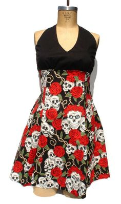 Hey, I found this really awesome Etsy listing at https://www.etsy.com/listing/101182530/rockabilly-pin-up-dress-pinup-skulls-and