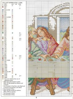 ru / Фото - Last Supper I - Cross Stitch Angels, Cross Stitch Baby, Cross Stitch Charts, Cross Stitch Designs, Cross Stitching, Cross Stitch Embroidery, Embroidery Patterns, Hand Embroidery, Religious Cross Stitch Patterns
