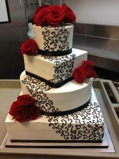 square wedding cakes Red, White and Black square wedding cake Black Square Wedding Cakes, Black Wedding Cakes, Cool Wedding Cakes, Beautiful Wedding Cakes, Gorgeous Cakes, Wedding Cake Designs, Pretty Cakes, Amazing Cakes, Wedding Ideas