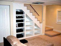 Trendy Ideas Unfinished Basement Storage Shelves Under Stairs Basement Makeover, Basement Storage, Basement Stairs, Stair Storage, Basement Renovations, Home Remodeling, Basement Ideas, Stair Shelves, Basement Designs