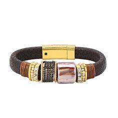 Dark Brown  Magnet Buckle Leather Bracelet