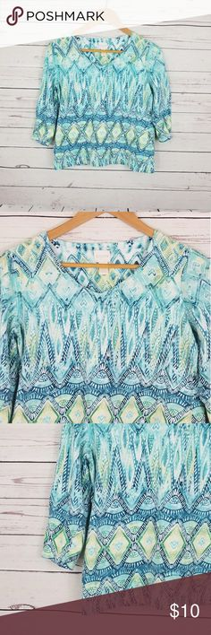 """Chico's Blouse Size 1 Medium Measurements were taken with clothes laying flat, and are approximate.  Measurement Breast: 18.5"""" Length: 20"""" Good condition no stains or rips.  Thank you for your interest, please check out our other items in our store. Have a great day! Chico's Tops Blouses"""