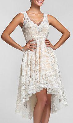 Bridesmaid Dress Asymmetrical Lace A Line Princess V Neck Dress