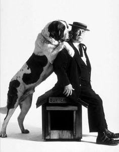 1964 actor Buster Keaton with a Saint Bernard