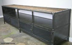Media Console/Credenza - Urban Modern, Vintage Industrial design. Reclaimed wood top & Steel. on Etsy, $1,800.00