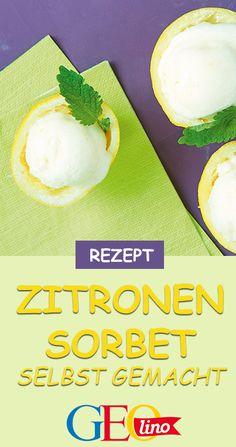 Wir stellen Zitronensorbet her - und zeigen auf GEOLINO.de, wie das am besten klappt! #rezept #kinderrezept #sorbet #zitronensorbet #sauermachtlustig #kochenmitkindern #sommerrezept Food Blogs, Cantaloupe, Mango, Fruit, Desserts, Sorbet, Kitchens, Sherbet Recipes, Yogurt