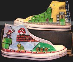 70524af5f9d42d Super Mario Shoes Kid s Mario Shoes Hand Painted Shoes
