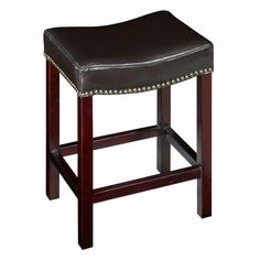 Home Decorators Collection Dark Brown Leather Curved Backless Nailhead Counter Stool-5376700830 at The Home Depot