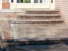 Oasis stamped concrete 20 years of experience in Concrete Driveways, front walkways, sidewalk, Back patios, concrete steps - Toronto. Concrete Front Steps, Concrete Driveways, Walkways, Front Door Steps, Front Walkway, Door Entry, Entrance, Cement Stain, Stamped Concrete