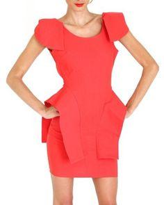 Coral Peplum Dress